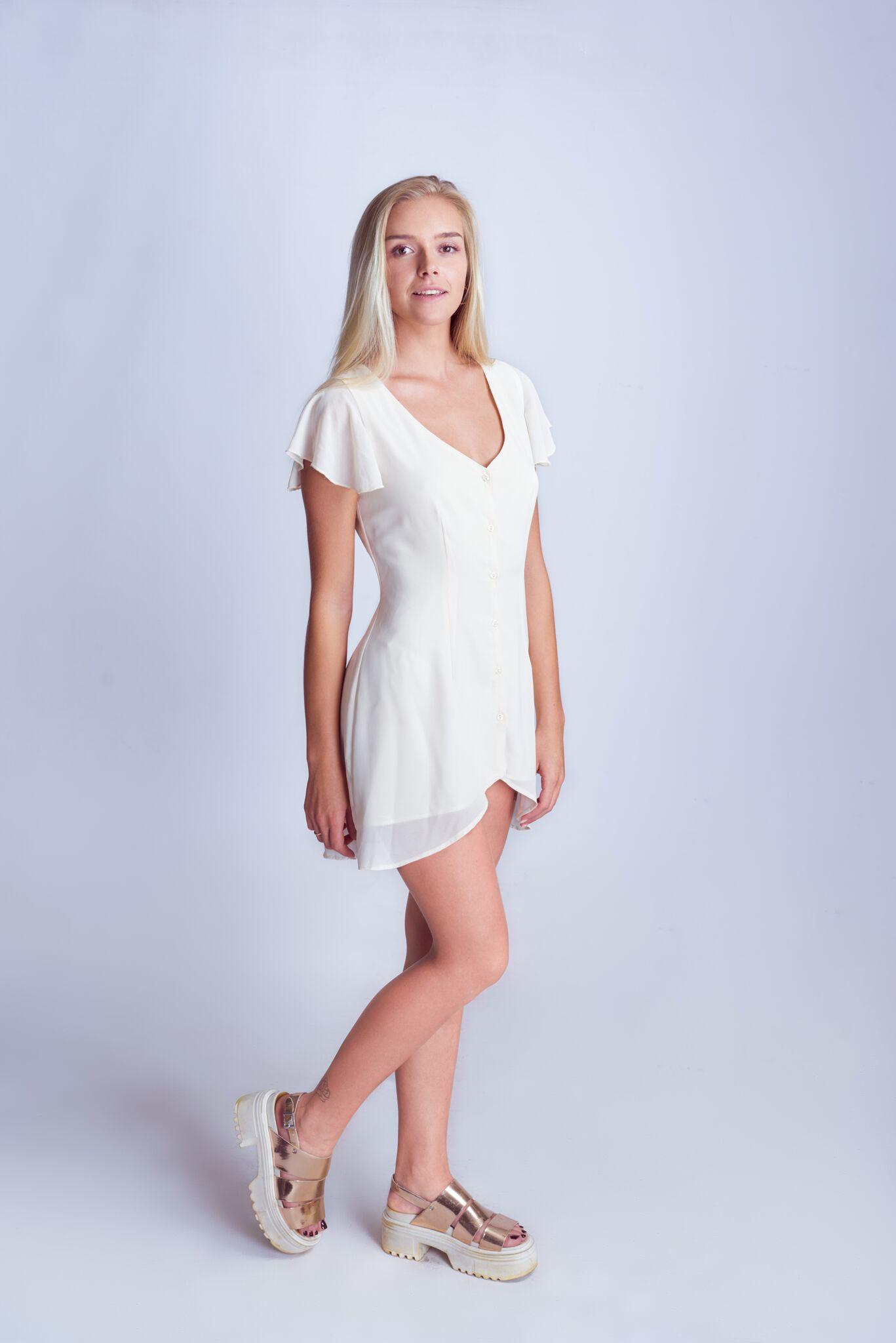 Flared Shoulder Button Down Dress