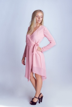 Pink Long Wrap Dress