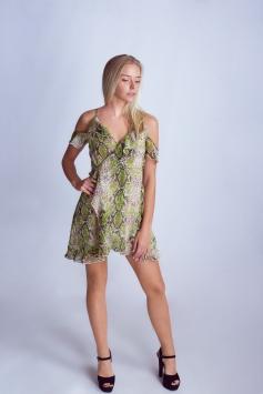 Snakeskin Short Wrap Dress
